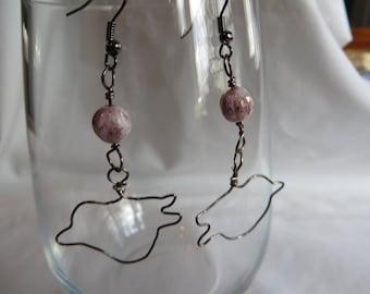 Wire Wrapped Bird Earrings - Birds, Earrings, Dangle, Pink, Gold, Gunmetal