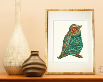 Poster Print - Ethnic Penguin - 8x10 or 11x14 For Your Home Decor