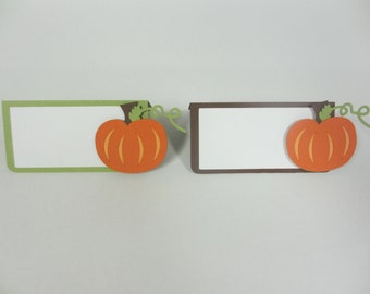 Pumpkin Food Buffet Tents / Place Cards Birthday Party Shower Set of 6 Orange Green Brown