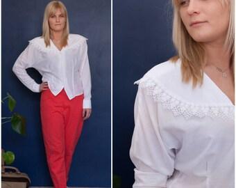 80s White Blouse Wide Collar Button Down Blouse Womens Medium White Shirt Crochet Collar Blouse Button Up Cape Collar Top Lace Detail Blouse