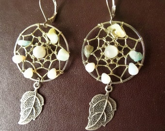 Moonstone earrings, leaf
