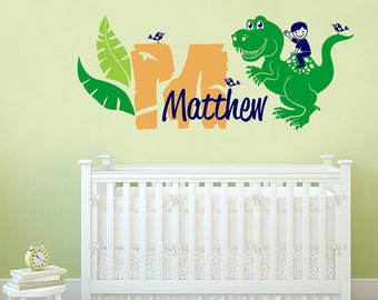 Dinosaur Themed Personalized Name, Custom Initial Vinyl Wall Decal Sticker for Nursery, Boy's or Playroom