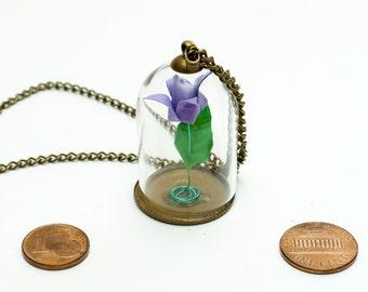 Pendant origami paper lilac rose in small glass globe
