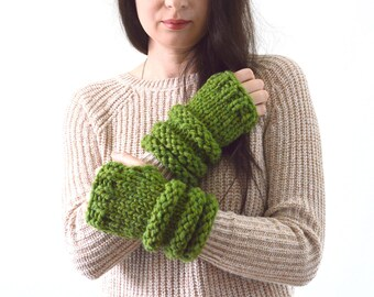 Chunky Knit Arm Warmers Wrist Warmers Fingerless Gloves Mittens   The Falstones