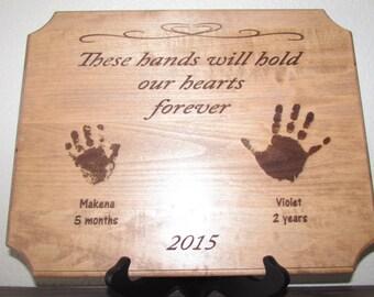 Keepsake Handprints Plaque, Your Child's Handprint(s) Laser Engraved,
