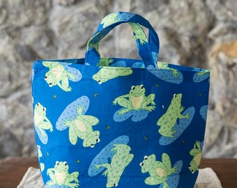 Handmade Fabric Reusable Small Bag with Handles for Odds & Ends/Snack Bag/Book Club Tote Bag/Gift Bag: Frogs on Blue