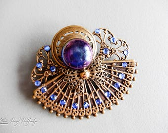 Gold Tone Angel Brooch Pin Pendant  w/ Sapphire Crystals