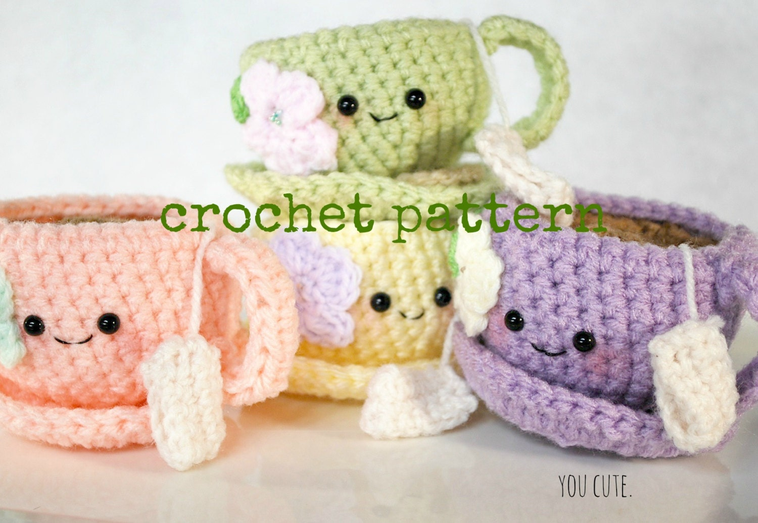 CROCHET PATTERN-Tea Cup and Saucer from youcute on Etsy Studio