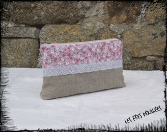 pouch / clutch triple pink liberty compartment