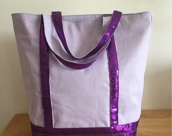 Tote bag and wallet with sequins