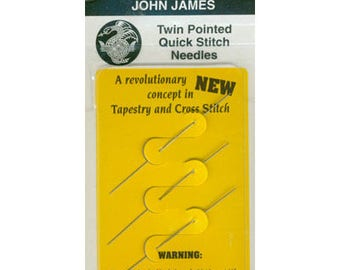 JOHN JAMES Twin Pointed Quick Stitch Needles 2 Sizes Available 26 or 28 cross stitch sewing needlework hand embroidery