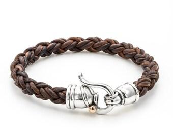 leather bracelet, brown leather bracelet, gift for him, birthday gift idea, free shipping, men birthday gift idea, bracelet for men, brown