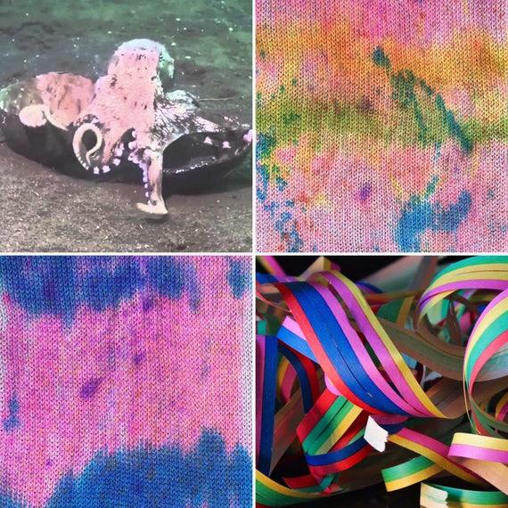 Party Octopus Sock Blank, grey gray pink 75/25 merino nylon sock yarn with rainbow speckles