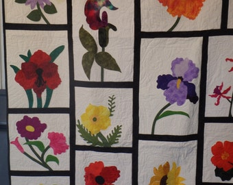 lap quilt, flower quilt, girl's quilt