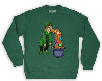 Function -  St. Patrick's Day Puking Leprechaun Men's Crew Neck Sweatshirt