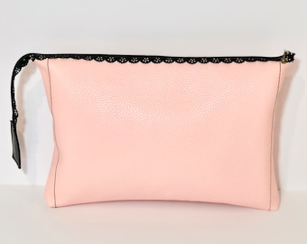 Vegan Leather Clutch, Soft Pink and Black Zipper for a Gentle Touch