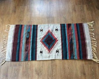 """Vintage """"Casa Gunginn"""" Mexican Rug - 100% Wool - Hand Woven"""