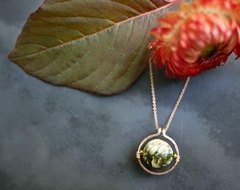 Minimal Gold Filled Hematite and Peruvian Opal Circle Necklace