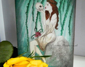 Greeting Card - Ophelia with Envelope Blank inside any occasion William Shakespeare Fine Art UK Emerald Green Willow Roses Vintage Inspired