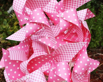 12 Large Spinning Pinwheels all in Pinks ... Gingham and Dots ...  Great Party Favors for Birthdays!