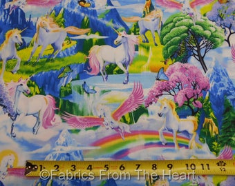 Unicorns Horses W Wings Rainbows Mountains BY YARDS Timeless Treasure Fabric