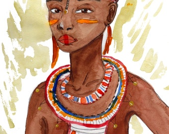 African girl watercolor painting