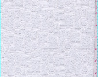 Whisper White Modern Knit Lace, Fabric By The Yard