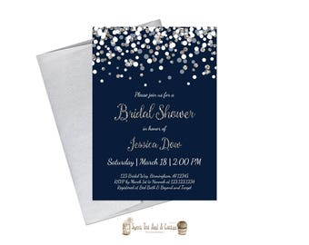 Navy and Silver Glitter Bridal Shower Invitation Elegant Confetti Printable Digital File or Prints Blue Wedding Announcements