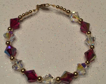 Ruby and Crystal Gold Filled Swarovski Bracelet