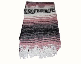 Vintage Mexican Blanket Southwestern Blanket Mexican Throw Blanket Mauve Falsa Blanket Southwestern Decor