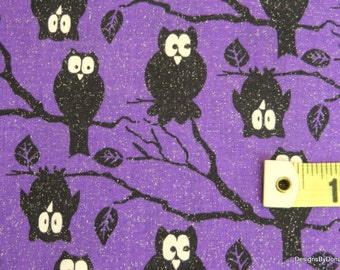 One Yard Cut Quilt Fabric, Halloween, Night Owls on Branches on Purple & Glitter as Reflecting Moon Light, Quilting-Sewing-Craft Supplies