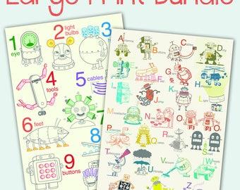 Verkauf kostenloser Versand - große Roboter Druck Bundle - Roboter Plakat, Baby Kunst, Kinderzimmer, Roboter Kunst Druck, Alphabet Kunstdruck, Anzahl Wandkunst