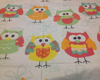 OWL cotton Fabric whitered yellow green fun Owls Cotton Fabric Kids Fabric Europe Design Kids Textile