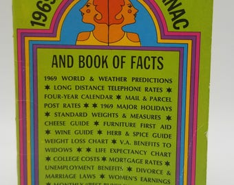 Hippie 1969 Womans Almanac and Book of Facts Dell Purse Book 9650 Baby Booms Reference Joke Gift