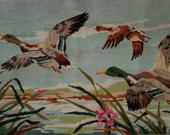 Vintage French needlepoint tapestry - Ducks flight - Duck needlepoint - Finished needlepoint