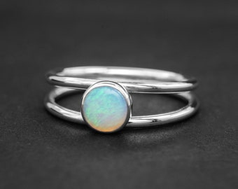 Silver opal ring, delicate ring, opal stacking ring, skinny ring, October birthstone, healing gemstone ring