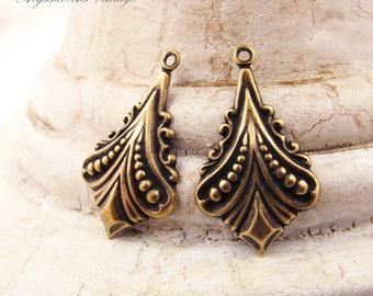 Antiqued Brass Ox Plated Art Nouveau Flourish Drops Earring Dangles - 4