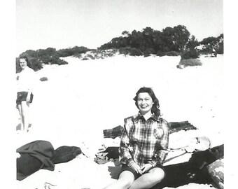 "Vintage Snapshot ""Beach Life"" Pretty Girl Plaid Shirt Sand Dunes Found Vernacular Photo"