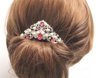 Pearl Bridal Hair Comb Wedding Hair Comb vintage style Flower Hair Comb Bridal Rhinestone Hair Comb Pink Hair Comb Rose Hair Comb Wedding