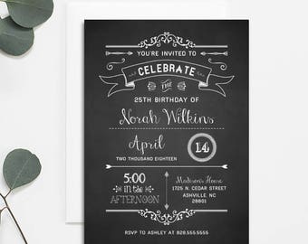 Printable Rustic DIY Birthday Invitation