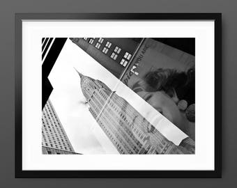 Modern Street Art Print, black and white New York street photography 'EPiC', modern typography wall art, monochrome gift, Chrysler Building