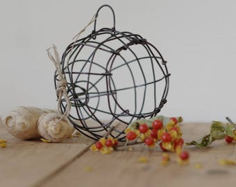 Woven Basket, Air Plant Holder, Hanging Wire Basket, Decorative