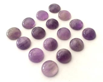 8 mm natural amethyst cabochons  16 pieces lot