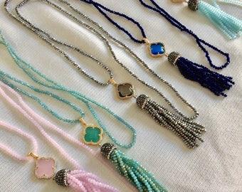 Mini Crystal Bead Clover/Druzy Necklace