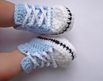 Crochet Baby Sneakers, Crochet Baby Converse,  Crochet Baby Converse Sneakers, Baby Converse, Baby Boy Sneakers, Crochet Baby