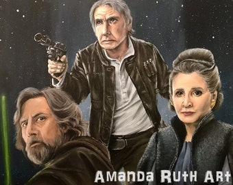 Star Wars - Luke, Han Solo, and Leia - Painting - Print