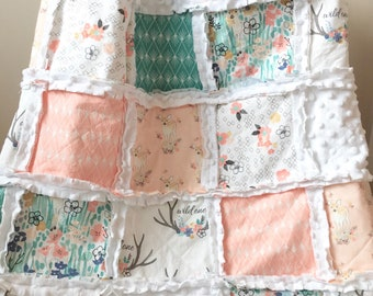 Fawn and floral crib sized rag quilt