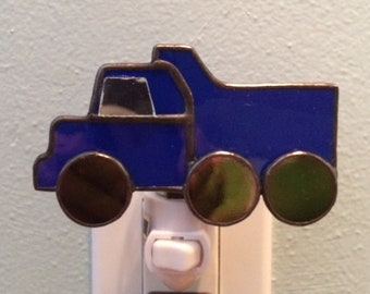 Stained Glass Blue Dump Truck Night Light