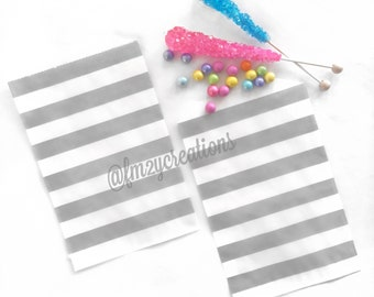 Gray Favor Bag   GRAY Stripe Favor Bags  (5x7)   Goodie Bags   Candy Favor Bags   Gray Baby Shower   Gray Wedding Favors