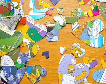 Comic Book Confetti-Simpsons Book Confetti Shapes - Comic Book Party- Comic  Book - 150 Birthday Party Paper Hearts  -  Party Table Decor